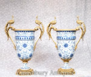 Pair Dresden Blue and White Porcelain Campana Urns Planters