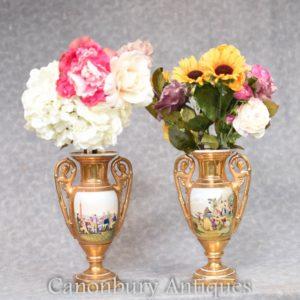 Pair Dresden Gold Porcelain Vases Urns