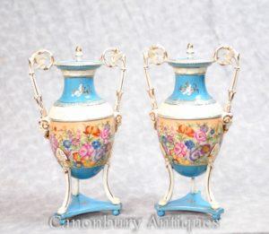 Pair Floral Porcelain Vases - French Sevres Urns