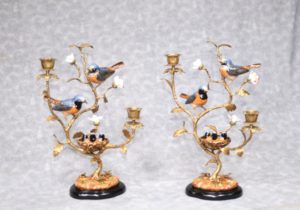 Pair French Ormolu Bird Candelabras Porcelain Encursted Candles