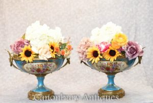 Pair French Sevres Porcleain Planters - Tureens Urns on Stands