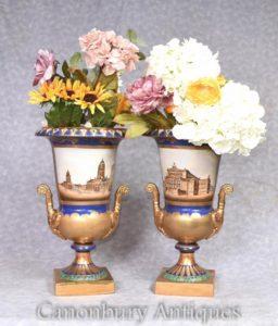 Pair German Dresden Porcelain Campana Urns Vases
