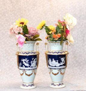 Pair German Meissen Pate Sur Pate Classical Urns Vases