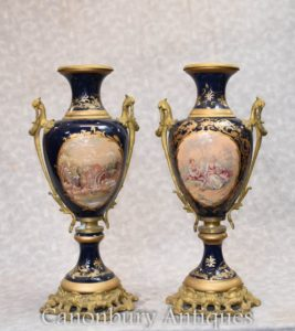 Pair Meissen Porcleain Urns - German Romantic Vases Pottery