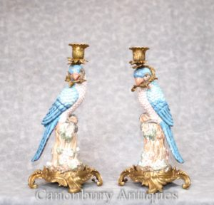 Pair Parrot Candelabras - Bird Ormolu Candle Sticks