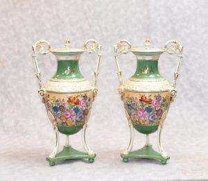 Pair Sevres Porcelain Floral Vases Urns French Urn