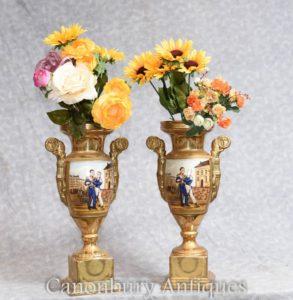 Pair Sevres Porcelain Napoleon Vases Urns Emperor