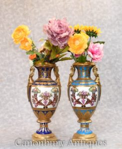 Pair Sevres Porcelain Vases - Amphora Urns Floral