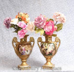 Pair Sevres Porcelain Vases Urns Roman Panels