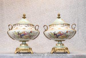 Pair Sevres Porcleain Tureens Lidded Urns - Vivid Floral Sprays