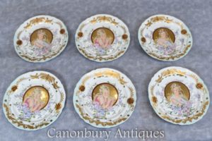 Set Art Nouveau Porcelain Plates - French Sevres Maidens