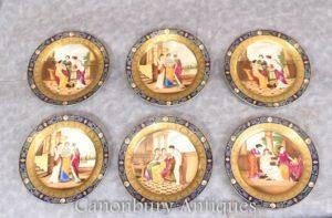 Set Dresden Porcelain Plates - 6 Roman Maiden Plaques