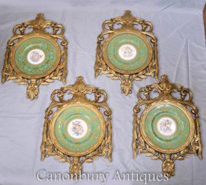 Sevres Porcelain Cherub Plaques - Gilt French Plates
