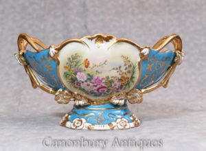 Sevres Porcelain Tureen Dish Bowl - Floral French China