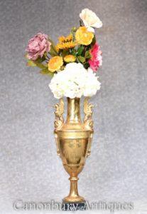 Sevres Porcelain Vase Urn - Griffin Handles Floral Planter