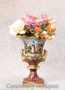 Single Dresden Porcelain Planter - Campana Urn Pot