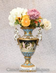 Single German Dresden Porcelain Griffin Vase Urn - Floral Planter