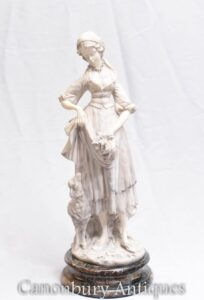 Antique Porcelain Victorian Figurine - Maiden Statue