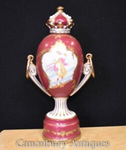 Dresden Porcelain Crown Vase - Lidded Urn