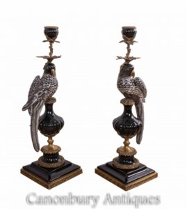 Pair Porcelain Parrot Candelabras - French Gilt Candlesticks
