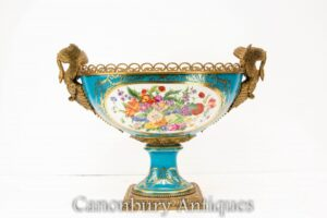 Sevres Porcelain Comport Dish - Ormolu Swan Floral Vases