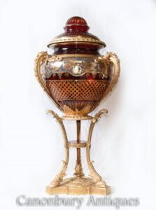 Single French Glass Centrepiece Lidded Urn - Louis XVI Vase Ormolu